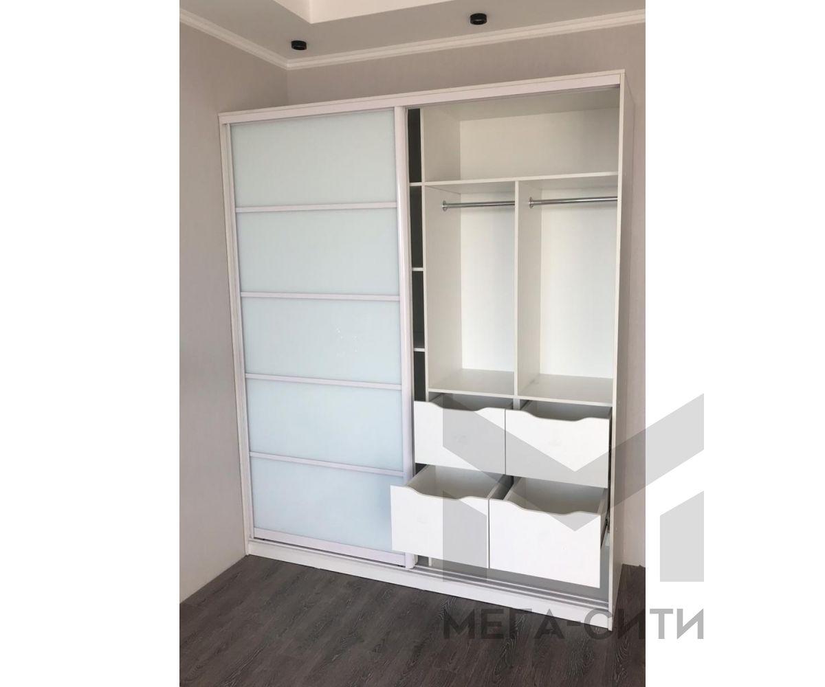 Шкаф купе белый с ящиками из мдф