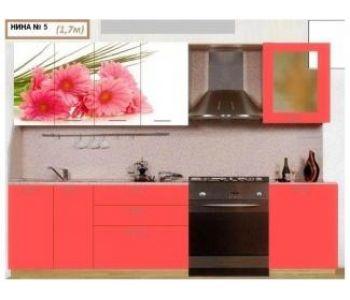 Кухонный гарнитур с фотопечатью  Нина 5 (1.7 м)