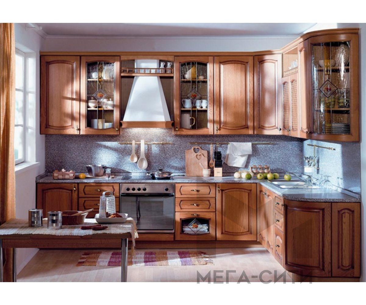 Кухонный гарнитур Альба из массива  берёзы  размеры 2,8 х 2,1 м