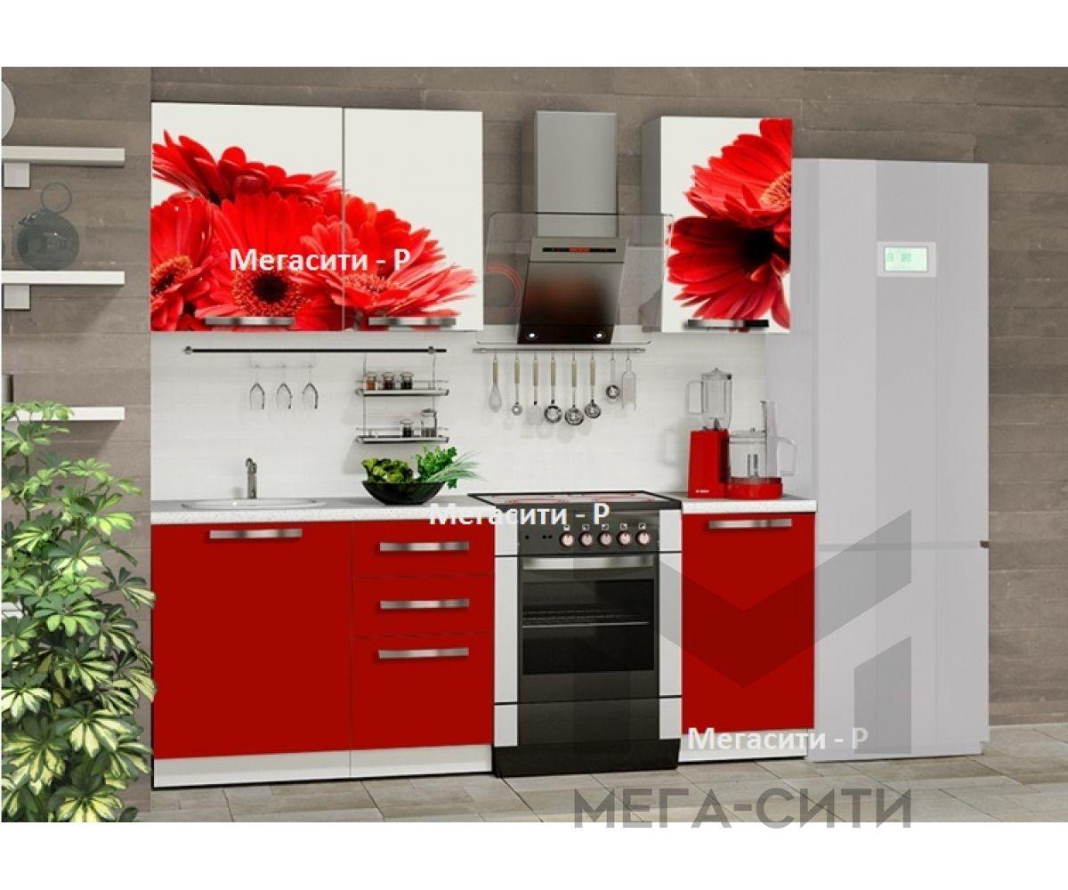 Кухня из мдф с фотопечатью,цветок,купить в Москве недорого у производителя Мегасити