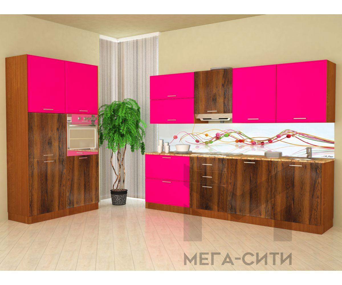 Кухонный гарнитур Фуксия 1,2х2,4 м МДФ матовый+ глянец
