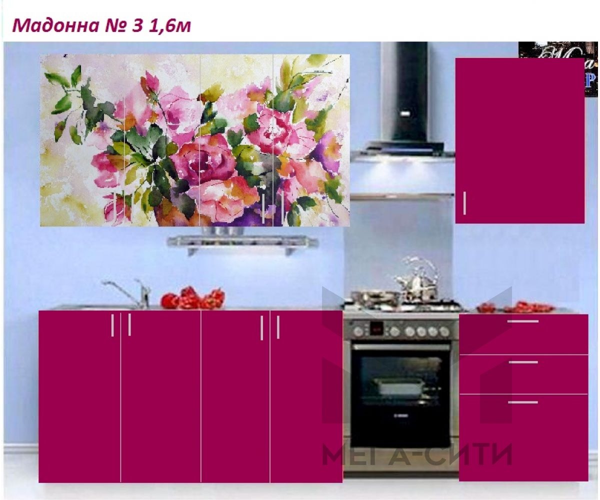Кухня с фотопечатью  Мадонна № 3 (1,6м)