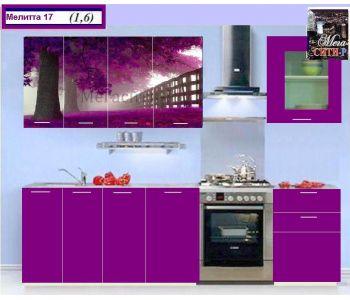 Кухонный гарнитур с фотопечатью МЕЛИТТА № 17 1.6м НОВИНКА
