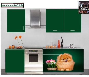 Кухонный гарнитур с фотопечатью  МЕЛИТТА № 5 (1.5м)