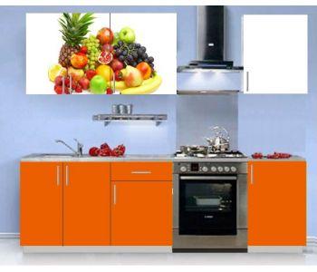 Кухонный гарнитур с фотопечатью эконом  Аника 6 (1,5 м)