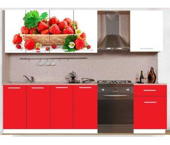Кухонный гарнитур с фотопечатью эконом  Аника 16 (1,6 м)