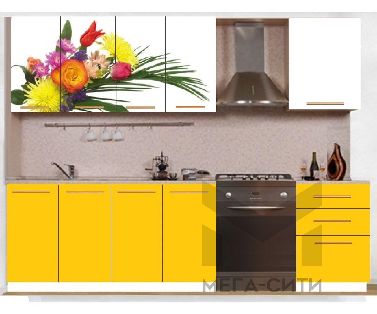 Кухонный гарнитур с фотопечатью эконом  Аника 22 (1,6 м)