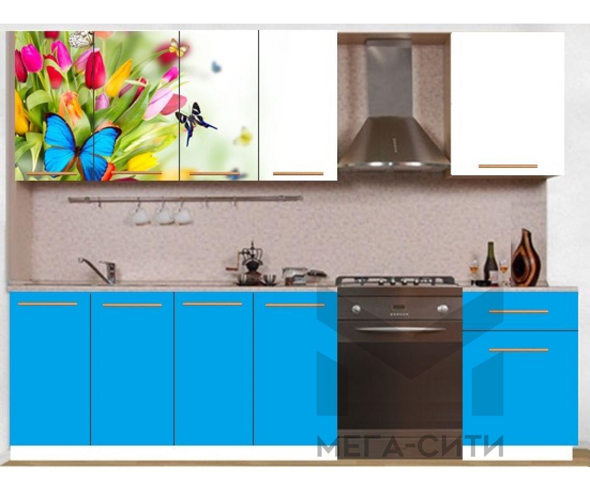 Кухонный гарнитур с фотопечатью эконом  Аника 26 (1,6 м)