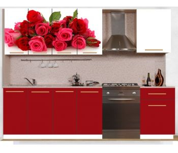 Кухонный гарнитур с фотопечатью эконом  Аника 27 (1,6 м)
