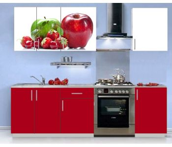 Кухонный гарнитур с фотопечатью эконом  Аника 2 (1,5 м)