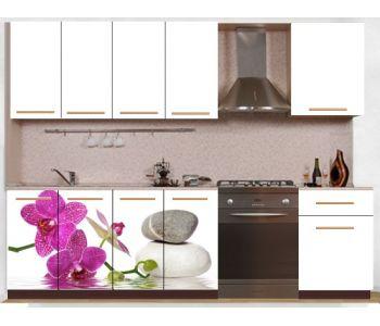 Кухонный гарнитур с фотопечатью эконом  Аника 24 (1,6 м)