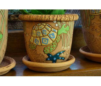 горшки для цветов, комплект Черепахи