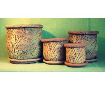 горшки для цветов, комплект Бамбук