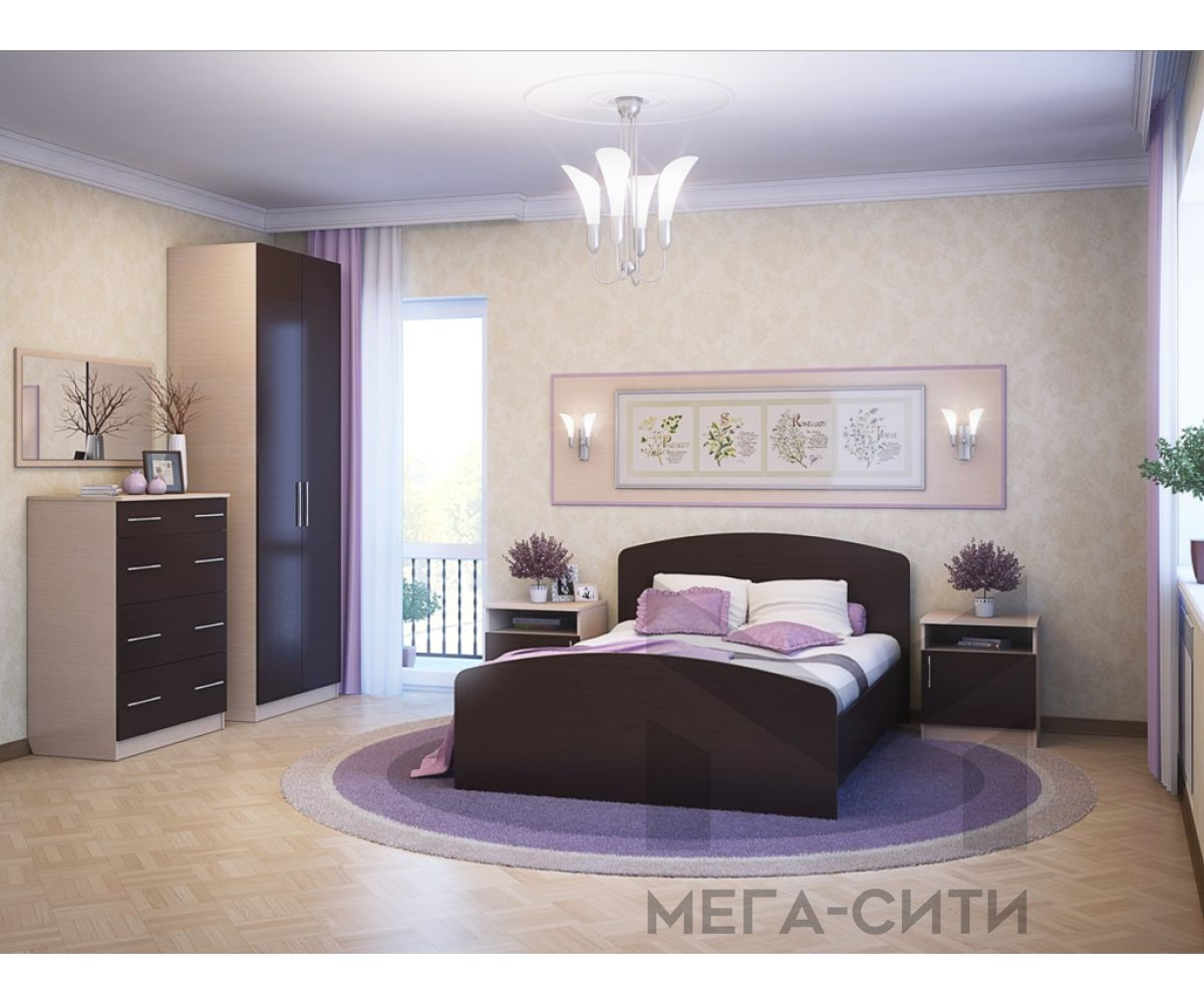 Спальный гарнитур  Элеонора-1 К-Венге, светлый,