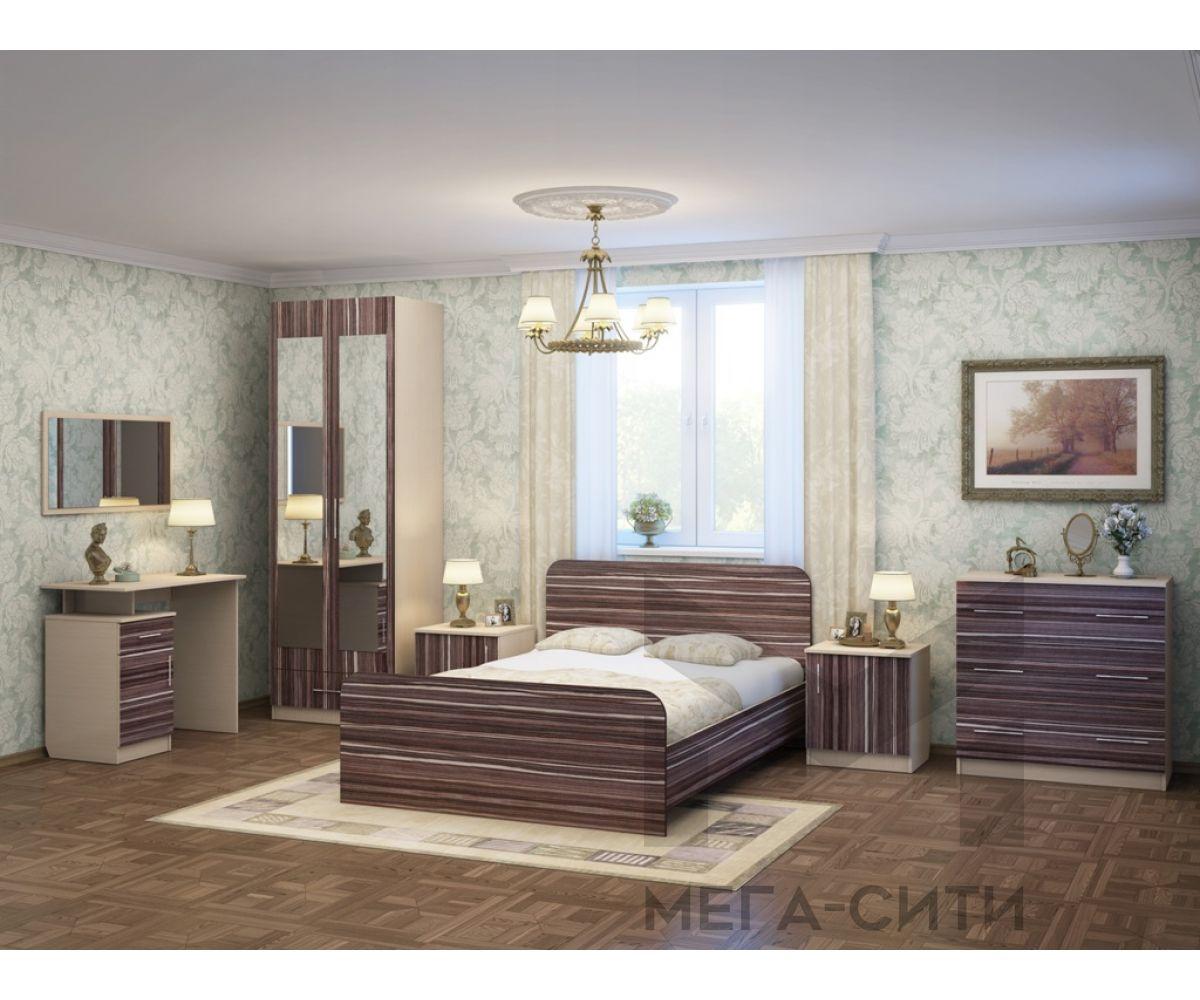 Спальный гарнитур Элеонора-4 К-Венге светлый,Ф-Макасар