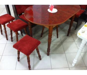 набор  стол,стулья универсал, табуреты мягкие из пластика  золотая нить