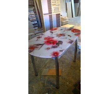 Стол обеденный  с фотопечатью цветы