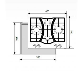 Газовая варочная панель  LEX GVG 643C BL