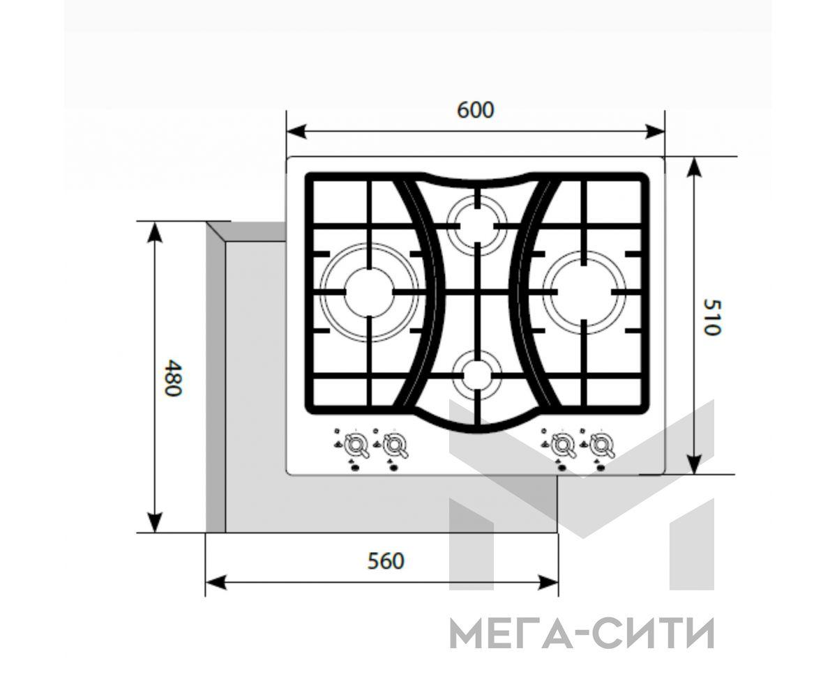 Газовая варочная панель  LEX GVG 643C IV