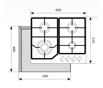 Газовая варочная панель  LEX GVG 640-1 WH
