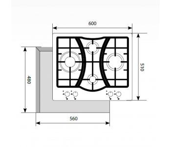 Газовая варочная панель  LEX GVS 643 IX