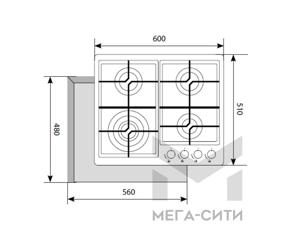 Газовая варочная панель  LEX GVS 645 BL Matt Edition