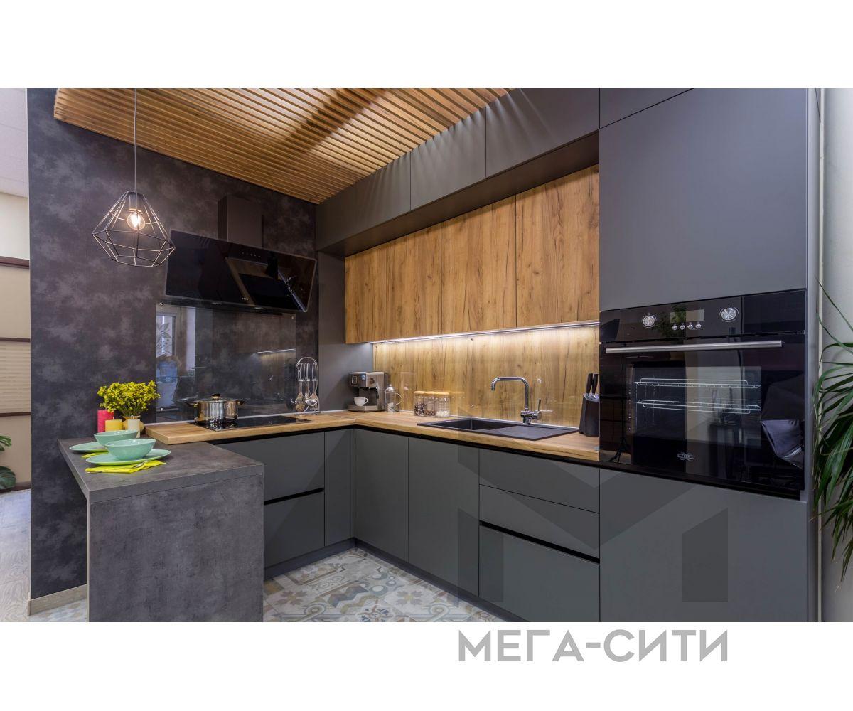 Кухонный гарнитур серого цвета,купить в Москве